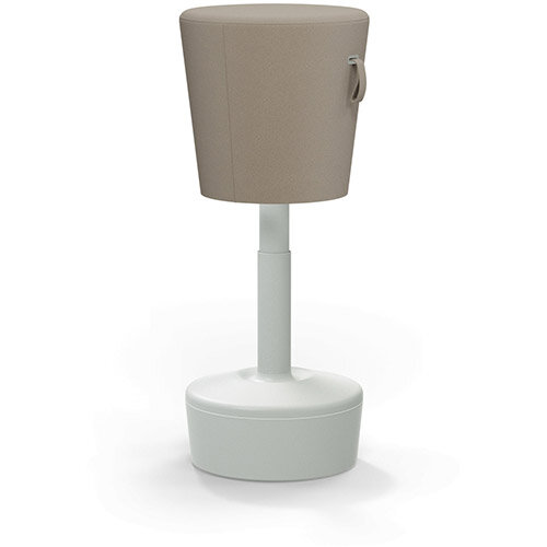 Mickey Ergonomic Height Adjustable Sit Stand Stool - Pouffe with Beige Fabric Seat &Plastic Light Grey Base &Frame - Seat Adjusts from 570-900m with Swivel &Tilt Function Perfect for use with Sit Stand Desks