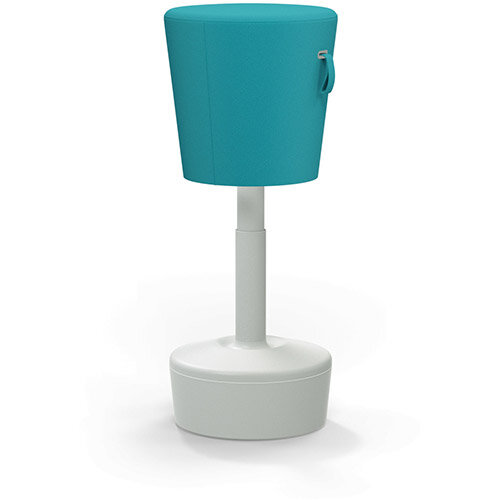 Mickey Ergonomic Height Adjustable Sit Stand Stool - Pouffe with Aquamarine Fabric Seat &Plastic Light Grey Base &Frame - Seat Adjusts from 570-900m with Swivel &Tilt Function Perfect for use with Sit Stand Desks