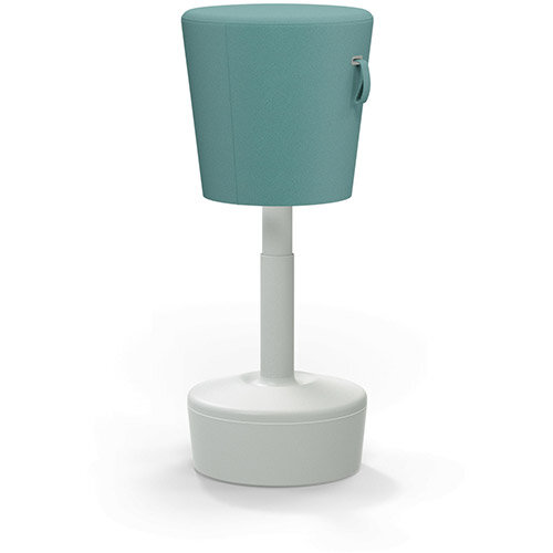 Mickey Ergonomic Height Adjustable Sit Stand Stool - Pouffe with Aqua Green Fabric Seat &Plastic Light Grey Base &Frame - Seat Adjusts from 570-900m with Swivel &Tilt Function Perfect for use with Sit Stand Desks