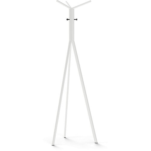 SEVEN White Coat Stand with Black Hooks