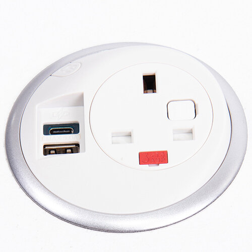 Pixel In-surface Power Module with 1 x UK Socket, 1 x HDMI Socket - White