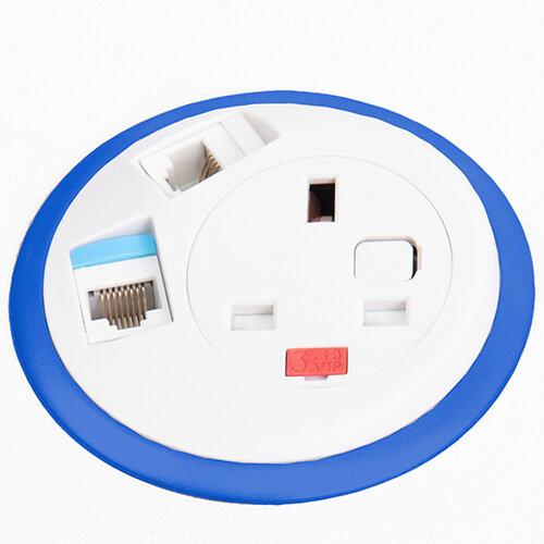 Pixel In-surface Power Module with 1 x UK Socket, 2 x RJ45 Sockets - Black