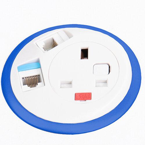 Pixel In-surface Power Module with 1 x UK Socket, 2 x RJ45 Sockets - orange