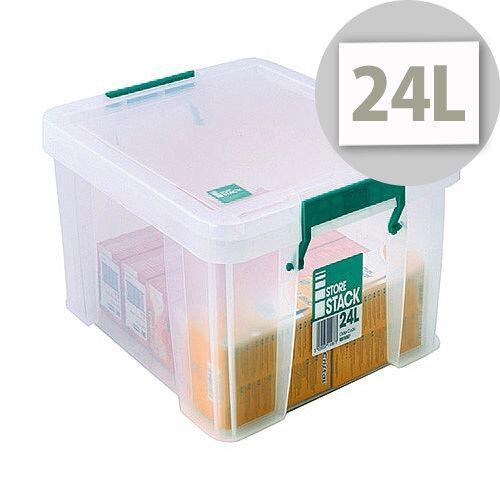 StoreStack 24L Plastic Storage Clear Box W480xD380xH190mm RB11087