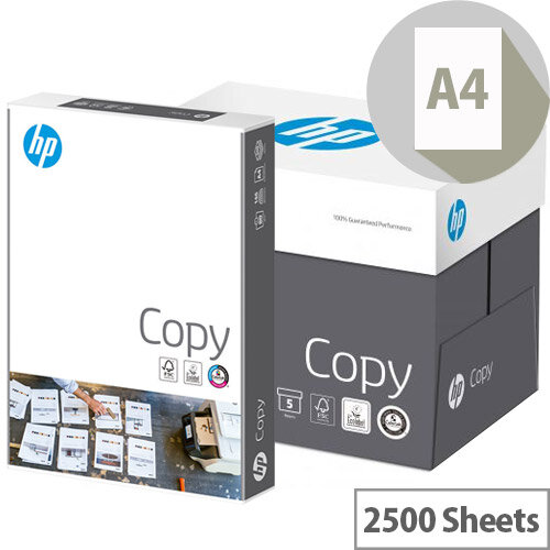 HP Hewlett Packard A4 80gsm White Copier Paper Box of 2500 Sheets