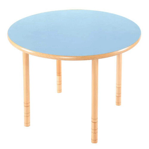 Flexi Round Height Adjustable Table 64-76cm Blue Top