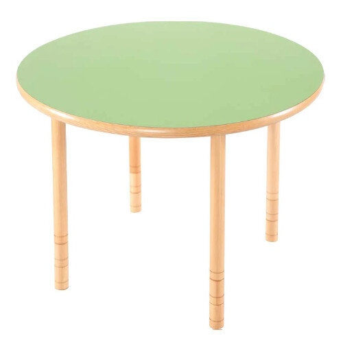 Flexi Round Height Adjustable Table 64-76cm Green Top