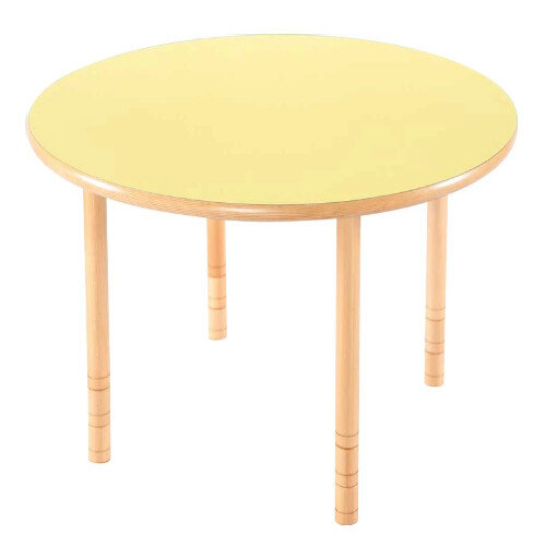 Flexi Round Height Adjustable Table 48-58cm Yellow Top