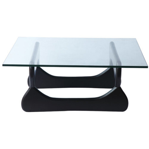 Noguchi Style Rectangular Glass Coffee Table with Black Ash Base