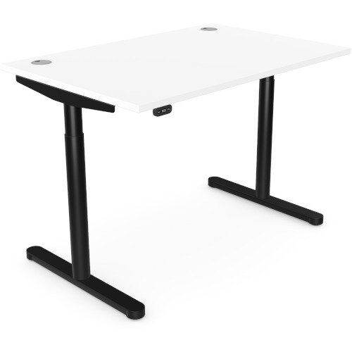 RoundE Height Adjustable Rectangular Home Office Sit Stand Desk Portal Top W1200xD700xH650-1150mm White Top Black Frame