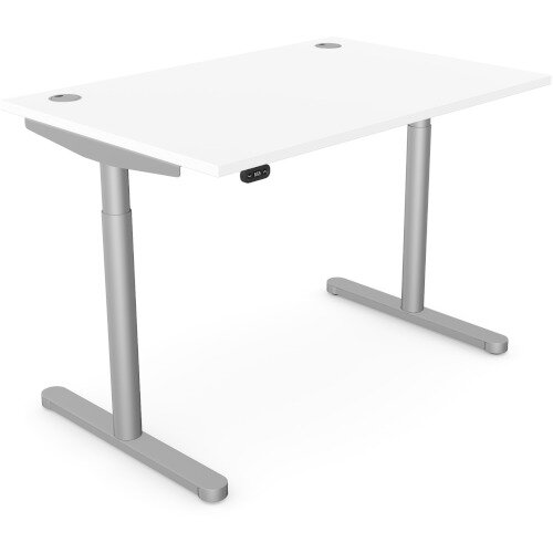 RoundE Height Adjustable Rectangular Home Office Sit Stand Desk Portal Top W1200xD700xH650-1150mm White Top Silver Frame
