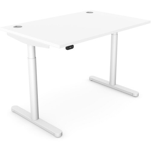 RoundE Height Adjustable Rectangular Home Office Sit Stand Desk Portal Top W1200xD700xH650-1150mm White Top White Frame