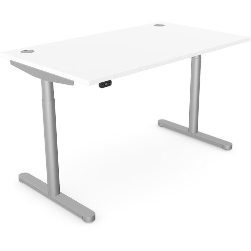 RoundE Height Adjustable Rectangular Home Office Sit Stand Desk Portal Top W1400xD700xH650-1150mm White Top Silver Frame