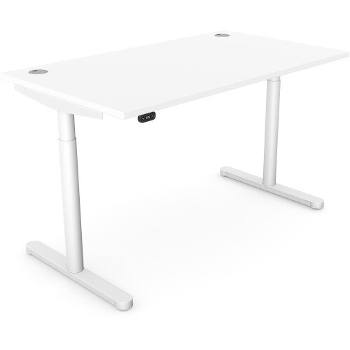 RoundE Height Adjustable Rectangular Home Office Sit Stand Desk Portal Top W1400xD700xH650-1150mm White Top White Frame