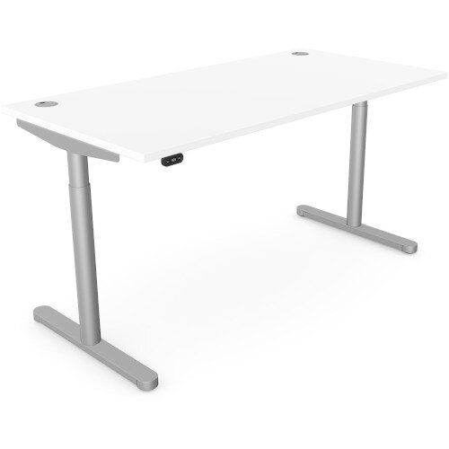 RoundE Height Adjustable Rectangular Home Office Sit Stand Desk Portal Top W1600xD700xH650-1150mm White Top Black Frame