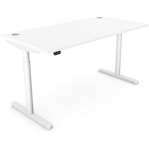 RoundE Height Adjustable Rectangular Home Office Sit Stand Desk Portal Top W1600xD700xH650-1150mm White Top Silver Frame