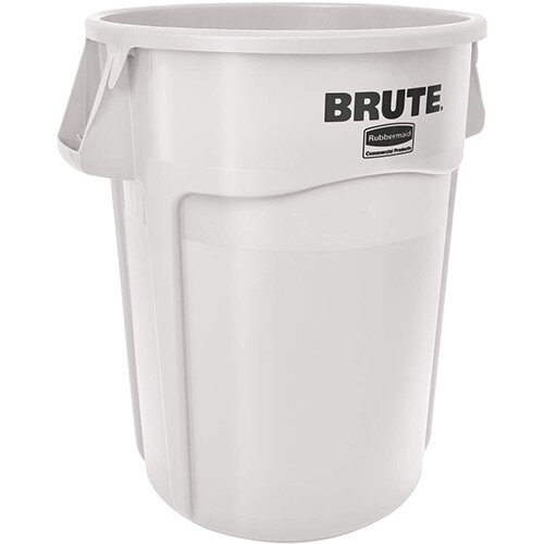 Rubbermaid BRUTE 166.5L Heavy-Duty Waste &Utility Container With Venting Channels Round White