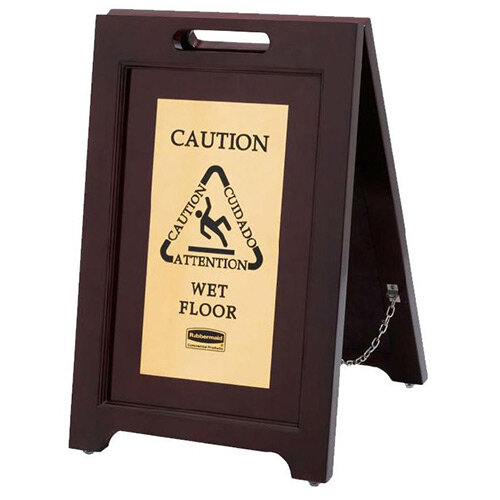 Rubbermaid 2-sided Caution Wet Floor Multilingual Safety Sign Wooden with Brass Plate