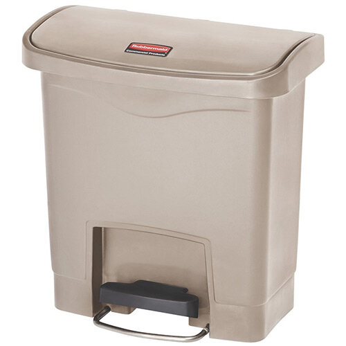 Rubbermaid Resin Slim Jim 15 Litre Front Step Step-On Pedal Bin Beige