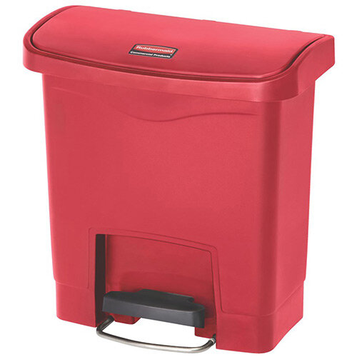 Rubbermaid Resin Slim Jim 15 Litre Front Step Step-On Pedal Bin Red
