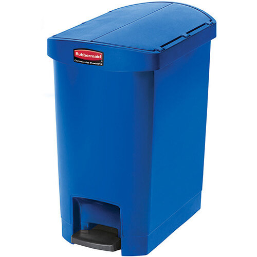 Rubbermaid Resin Slim Jim 30 Litre End Step Step-On Pedal Bin Blue