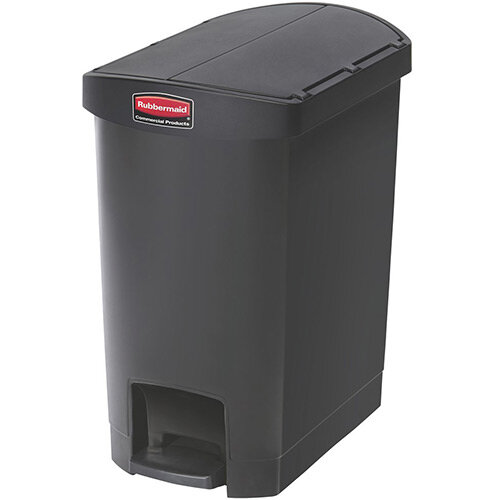 Rubbermaid Resin Slim Jim 30 Litre End Step Step-On Pedal Bin Black