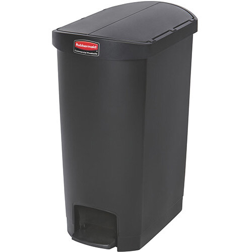 Rubbermaid Resin Slim Jim 50 Litre End Step Step-On Pedal Bin Black