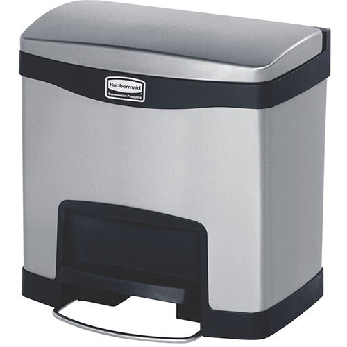 Rubbermaid Metal Slim Jim 15 Litre Front Step Step-On Stainless Steel Pedal Bin Black