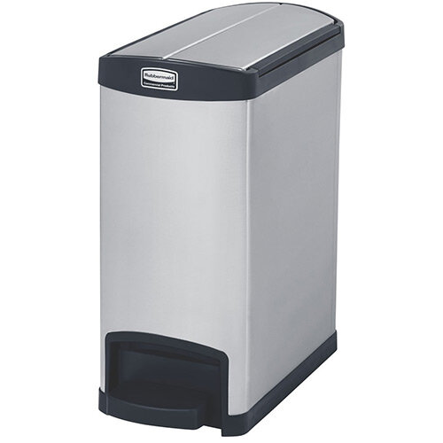 Rubbermaid Metal Slim Jim 30 Litre End Step Step-On Stainless Steel Pedal Bin Black