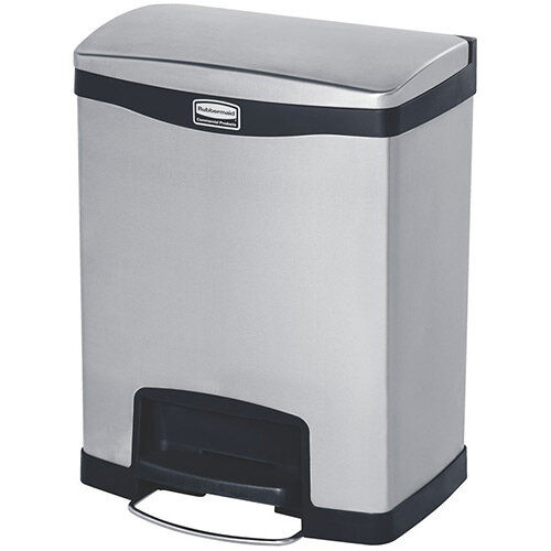 Rubbermaid Metal Slim Jim 30 Litre Front Step Step-On Stainless Steel Pedal Bin with Dual Liner Black