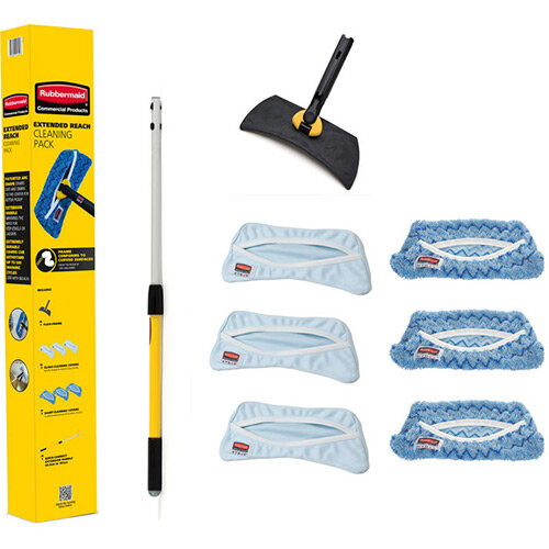 Rubbermaid HYGEN High Level Cleaning Pack Flexi Mop Handle &Frame With 3x Glass, 3 x Damp Cleaning Covers