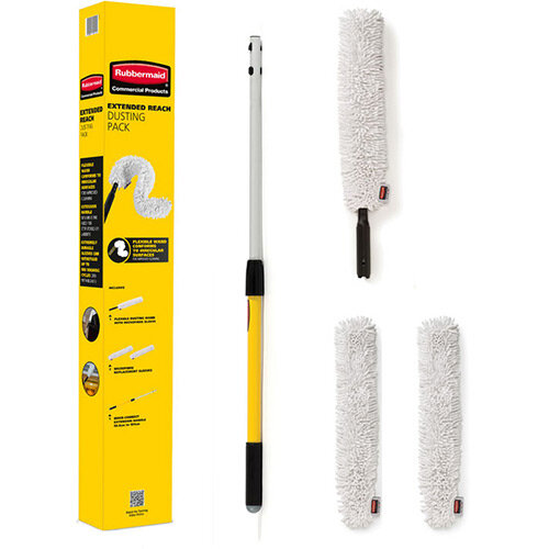 Rubbermaid HYGEN Flexible High Level Dusting Pack Extension Handle with Flexible Dusting Wand &2x Wand Duster Performance Microfiber Sleeves