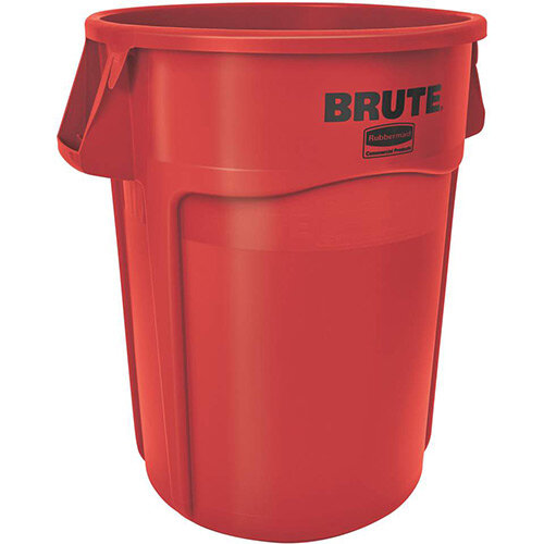 Rubbermaid BRUTE 166.5L Heavy-Duty Waste &Utility Container With Venting Channels Round Red
