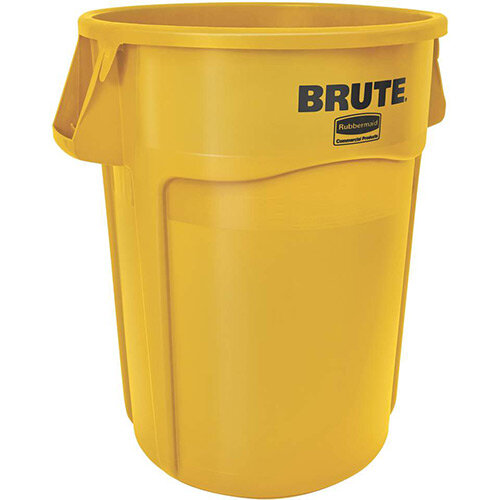 Rubbermaid BRUTE 166.5L Heavy-Duty Waste &Utility Container With Venting Channels Round Yellow