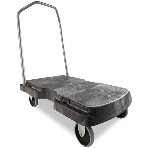 Rubbermaid Triple Platform Trolley with Castors 2 Fixed &2 Swivel 181kg Capacity L826xW521mm Black