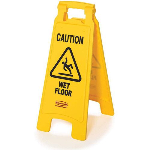 Rubbermaid 2 Sided Caution Wet Floor Imprint &Symbol Floor Safety Sign Yellow