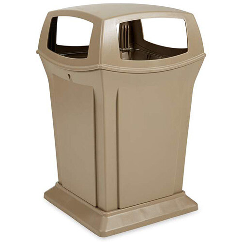 Rubbermaid 170.3L Square Ranger Trash Container with 4 Top Openings Beige