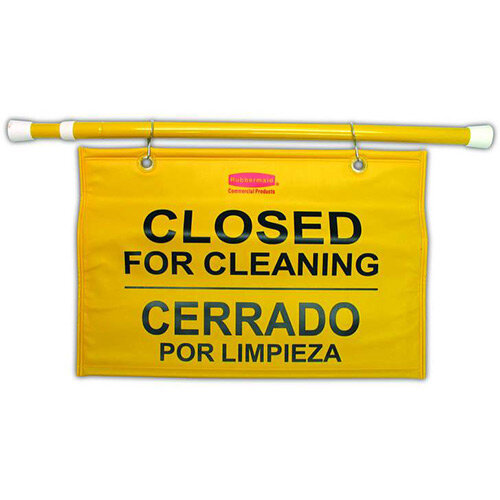 Rubbermaid Site Safety Hanging Sign Multilingual Closed for Cleaning Yellow