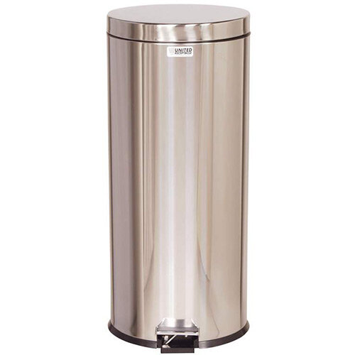 Rubbermaid Small Pedal Bin 30.3L Stainless Steel