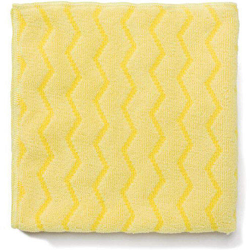 Rubbermaid HYGEN Microfiber Cloth With Zig-zag Scrubbing Strips Yellow