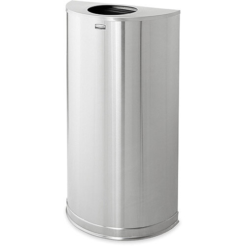 Rubbermaid 45L Designer Half Round Bin Open Top with Rigid Plastic Liner Stainless Steel