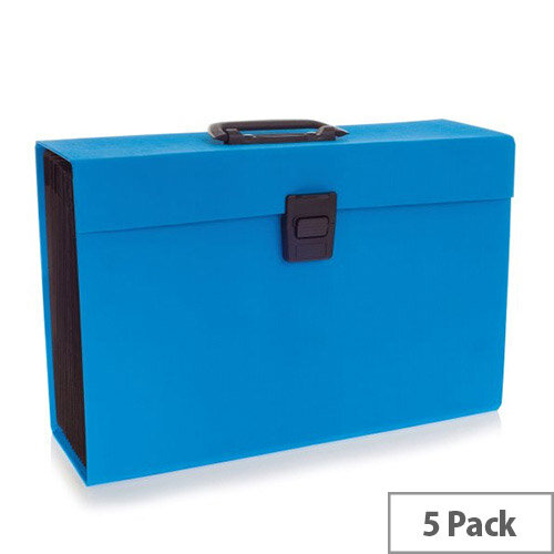 Rexel JOY Expanding Box File Blissful Blue Pack of 5 - Easily Carry Your Files With 19 Compartments, Secure Latch Closure &Carry Handle. Wipe Clean Linen Texture. Ideal For Use In Schools, Colleges, Offices, Homes &More.