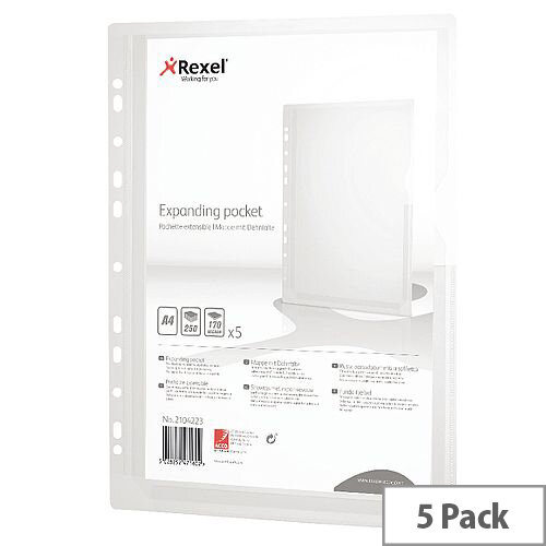 Rexel Expanding Punched Pockets A4 170 Micron Pack of 5