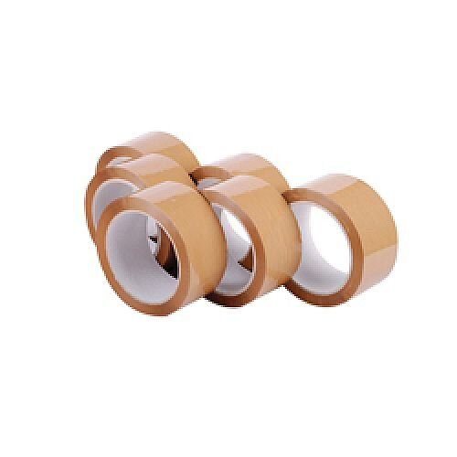 Polypropylene Packaging Tape 48mmx66m Brown Pack of 6 7671