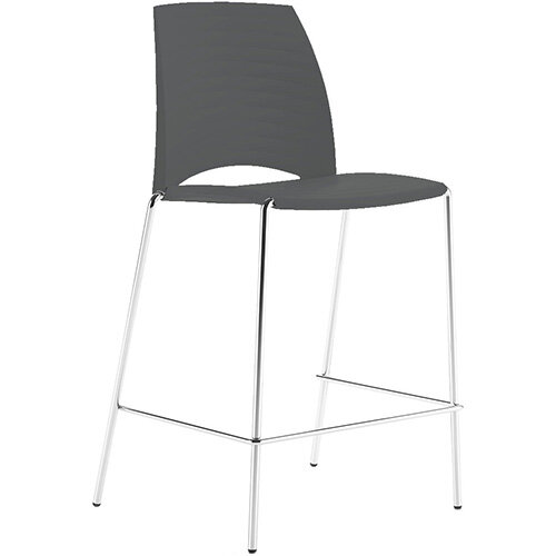 Frovi SAND Canteen Stool With Chrome 4 Leg Base H1025xW570xD535mm 760mm Seat Height Anthracite