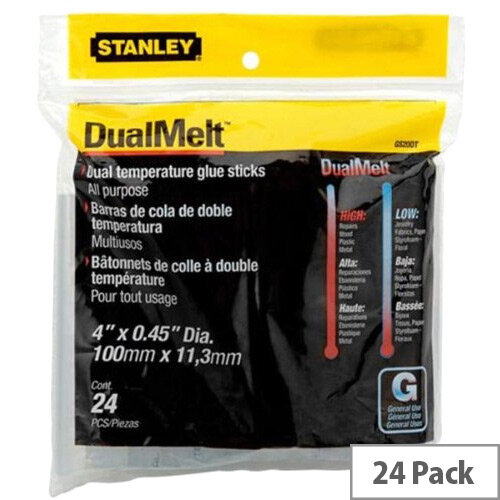 Stanley Dual Melt Glue Stick 4 inch Pack of 24 0-GS20DT