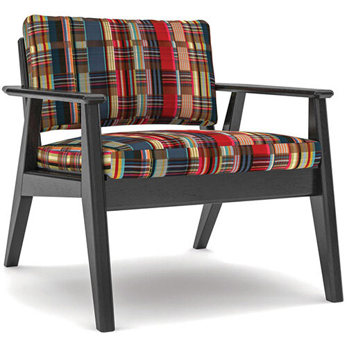 Frovi SCANDI 1 Seater Armchair With Black Oak Frame H750xW720xD780mm 430mm Seat Height - Fabric Band H