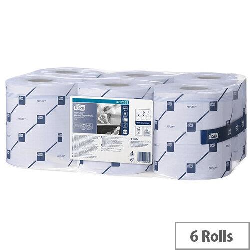Tork Dispenser Reflex Wiper Blue Cleaning Paper Tissue Rolls 150m 2-Ply 429 Sheets 200 x 350mm Pack 6