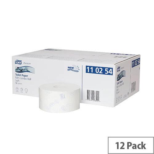 Tork T2 System Mini Jumbo Dispenser Toilet Rolls White 170m Pack of 12 110254