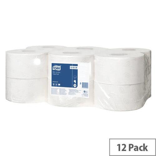Tork Advanced Hygiene Mini Jumbo Dispenser Toilet Roll 2 Ply Pack of 12 120238
